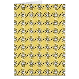 Yellow, Black and White Swirls Pattern. Card