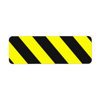 Yellow Black Attention Stripes Return Address Label
