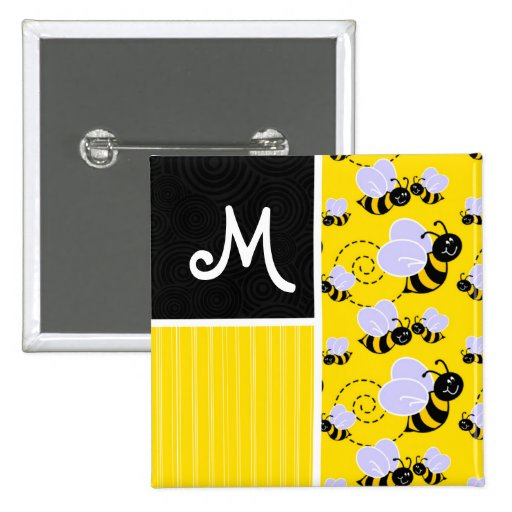 Yellow & Black Bee Pattern Pinback Buttons
