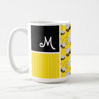 Yellow Black Bee Pattern Coffee Mugs