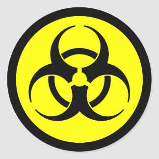 Yellow & Black Biohazard Symbol Sticker