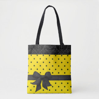 Yellow Black Bow Polka Dots Damask Pattern Tote Bag