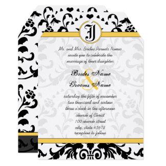 Yellow Black Bubble Bee Damask Wedding Invite