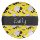 Yellow & Black Bumble Bee Plate