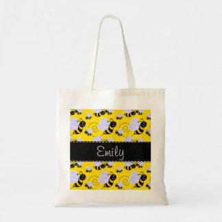 Yellow & Black Bumble Bee Tote Bag