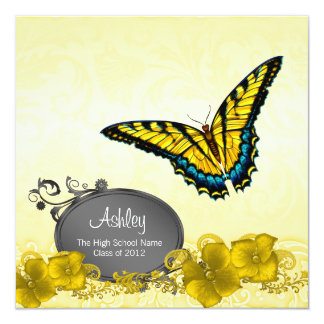 "Yellow & Black Butterfly Graduation Announcements 5.25"" Square Invitation Card"