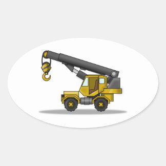 Yellow & Black Cartoon Crane Construction Vehicle Oval Sticker