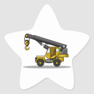 Yellow & Black Cartoon Crane Construction Vehicle Star Sticker