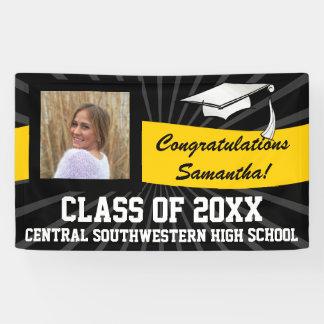 Yellow Black Custom Photo Graduation Sign