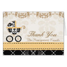 YELLOW Black Damask Baby Carriage Shower Thank You Card