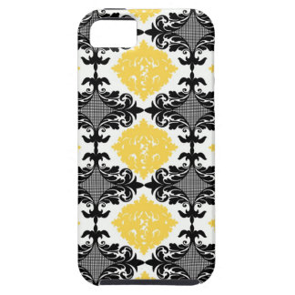 Yellow & black damask floral girly flower pattern iPhone 5 cover
