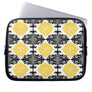 Yellow & black damask floral girly flower pattern laptop sleeve