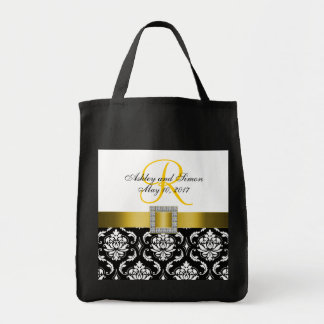 Yellow, Black Damask Personalized Wedding Tote Bag