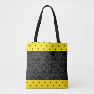 Yellow Black Damask Polka Dots Patern Print Design Tote Bag