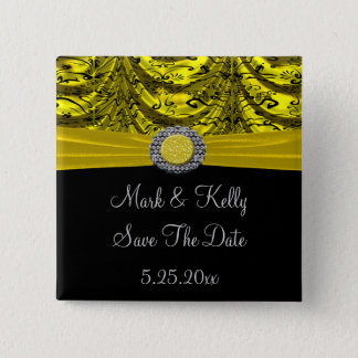 Yellow & Black Draped Baroque Save The Date 2 Inch Square Button