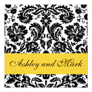 Yellow Black Floral Damask Wedding Invitations