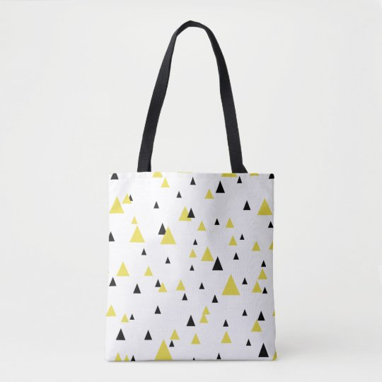 Yellow & Black Geometric Pattern Personalized Bag