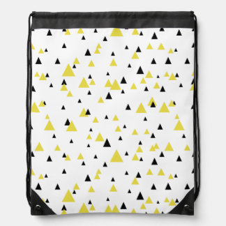 Yellow & Black Geometric Pattern Personalized Drawstring Bag