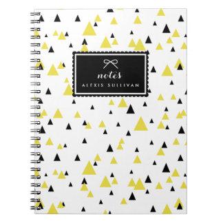 Yellow & Black Geometric Pattern Personalized Notebook