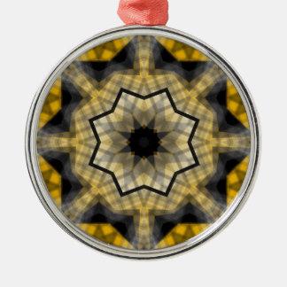 Yellow black Geometric Silver-Colored Round Ornament