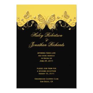 Yellow Black Gold Butterflies Post Wedding Card