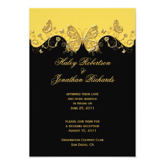 Yellow Black Gold Butterflies Post Wedding 5x7 Paper Invitation Card