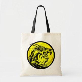 Yellow black grunge dragon circle tote bag