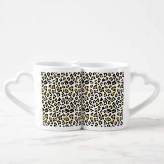 Yellow Black Leopard Animal Print Pattern Coffee Mug Set