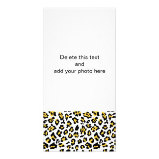 Yellow Black Leopard Animal Print Pattern Photo Card Template