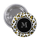 Yellow Black Leopard Animal Print with Monogram Pin