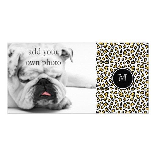Yellow Black Leopard Animal Print with Monogram Photo Greeting Card