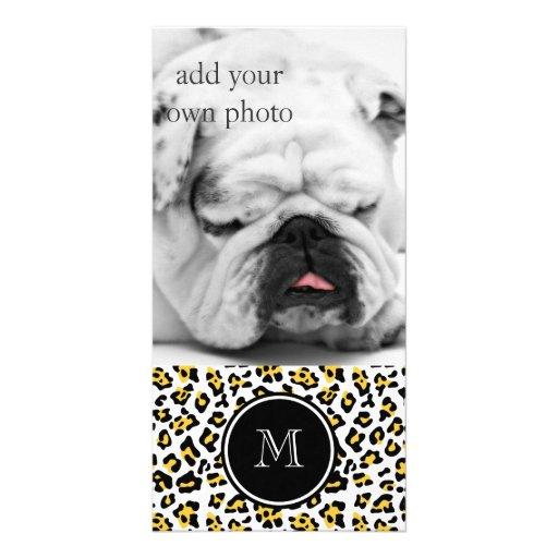 Yellow Black Leopard Animal Print with Monogram Photo Card