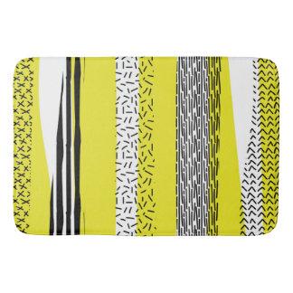 Yellow & Black Mix Geometric Pattern Bath Mat