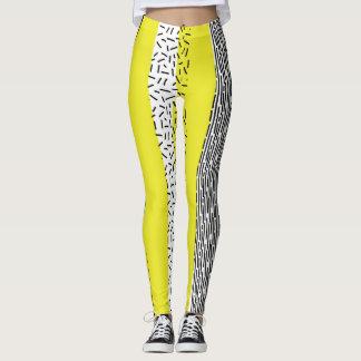 Yellow & Black Mix Geometric Pattern Leggings