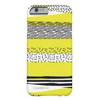 Yellow & Black Mix Geometric Pattern Personalized Barely There iPhone 6 Case