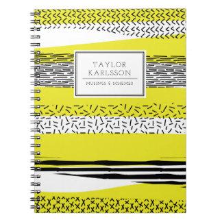 Yellow & Black Mix Geometric Pattern Personalized Notebook