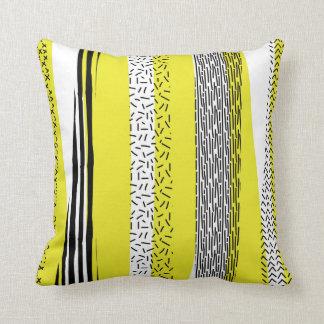 Yellow & Black Mix Geometric Pattern Throw Pillow