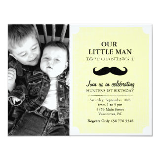 Yellow/Black Mustache Photo First Birthday Invite