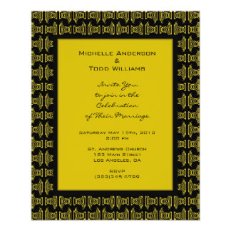Yellow Black Pattern Wedding Full Color Flyer