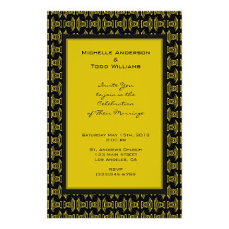 Yellow Black Pattern Wedding Flyer Design