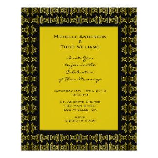 Yellow Black Pattern Wedding Full Color Flyer