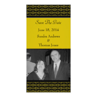 Yellow Black Pattern Wedding Picture Card