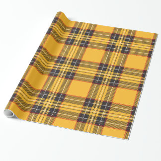 Yellow & Black Plaid Glossy Wrapping Paper