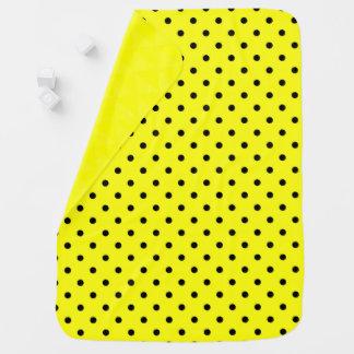 Yellow black polka dot baby blanket
