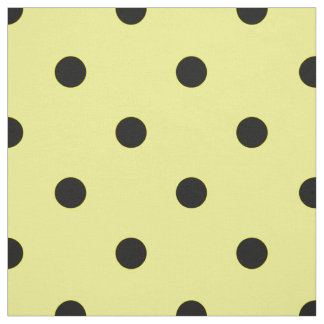 Yellow black polka dot fabric