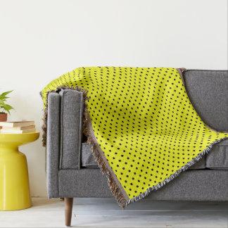 Yellow black polka dot throw blanket