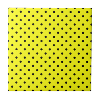 Yellow black polka dot tile