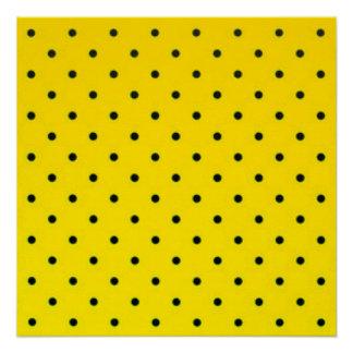 Yellow & Black Polkadots Pattern Print Design
