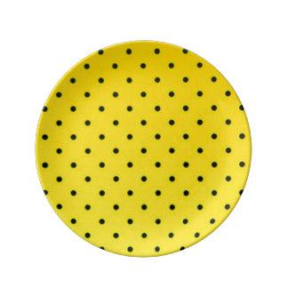 Yellow & Black Polkadots Pattern Print Design Porcelain Plate