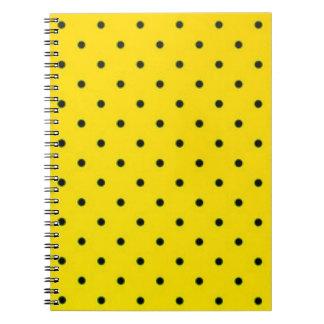 Yellow & Black Polkadots Pattern Print Design Spiral Notebook